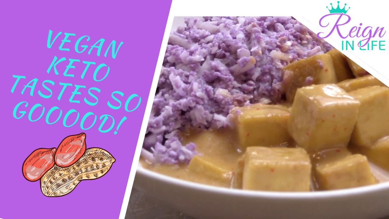 Keto Vegan Thai Peanut Tofu with Coconut Cauliflower Rice!