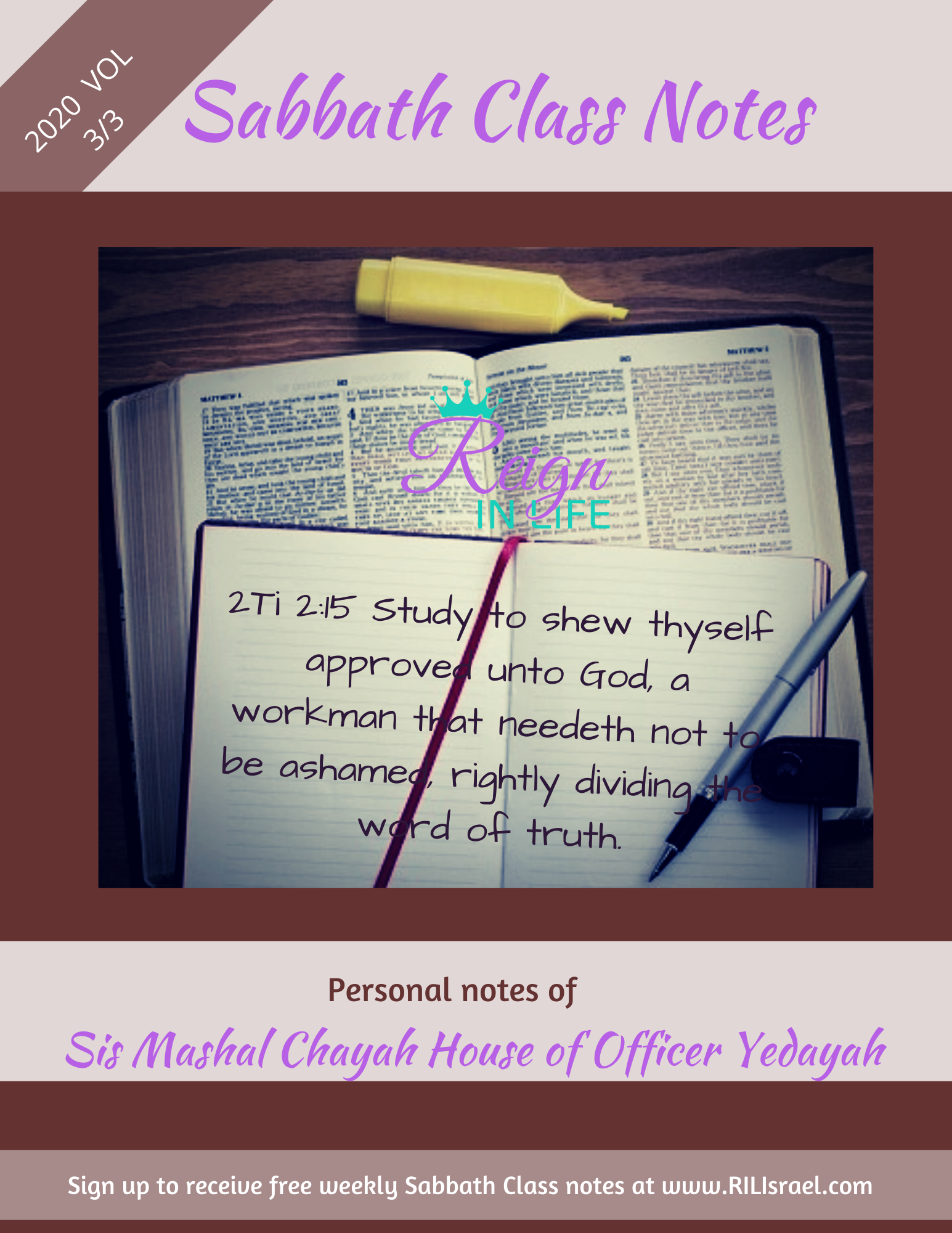 2020 Sabbath Class Notes Volume 3 of 3 (Physical Book)
